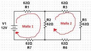 Ejemplo de malla en circuitos eléctricos