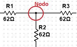 Ejemplo de nodo en circuitos eléctricos