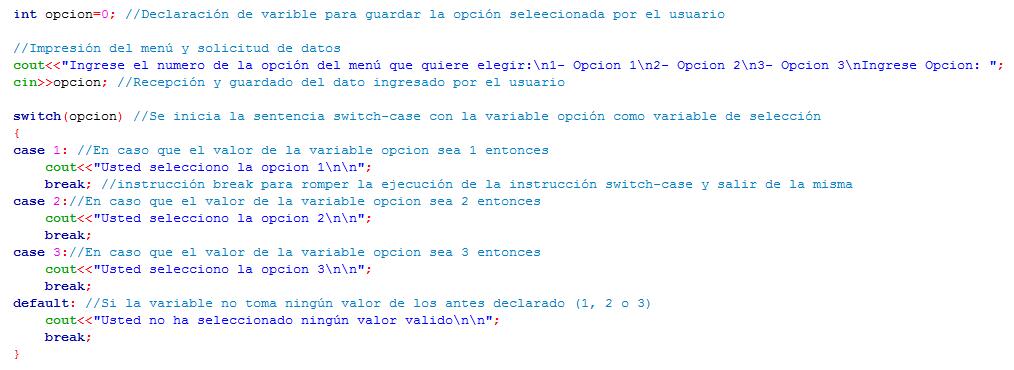 Ejemplo de uso de instrucción Switch - case